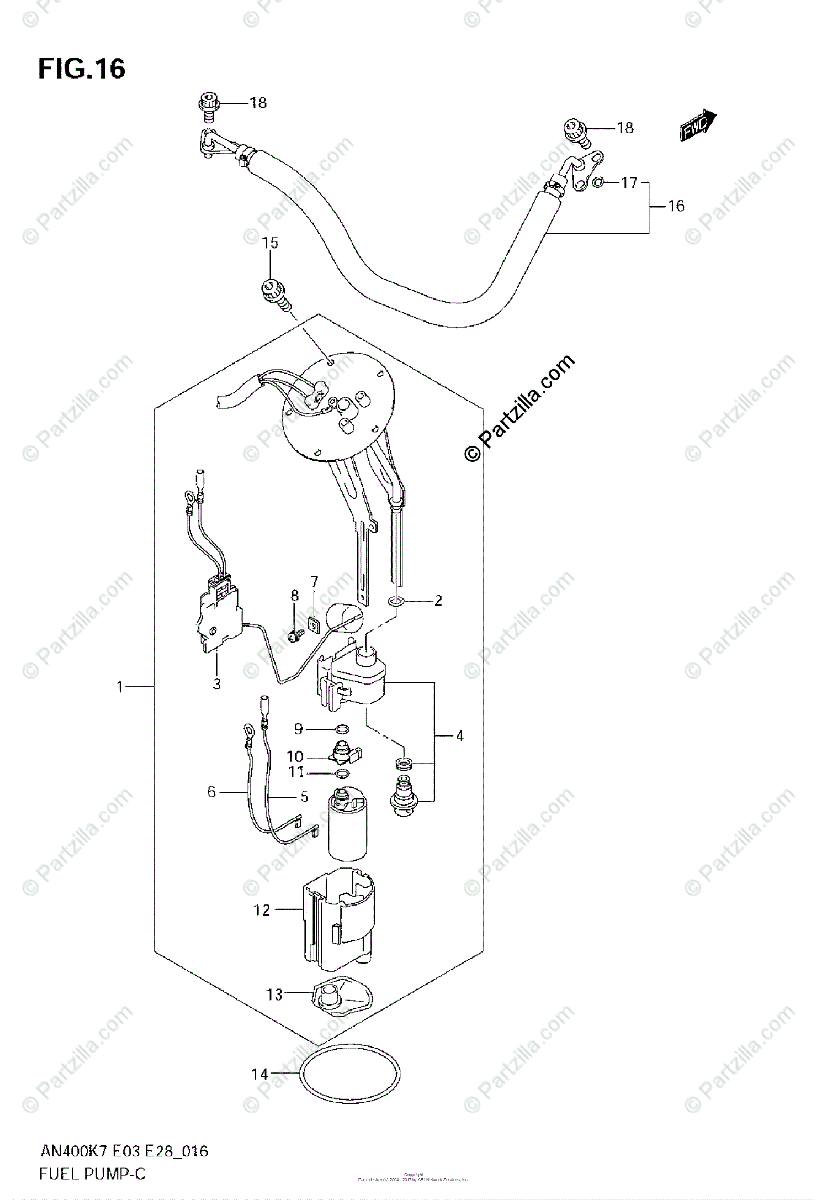 Suzuki Scooters 2007 OEM Parts Diagram for FUEL PUMP