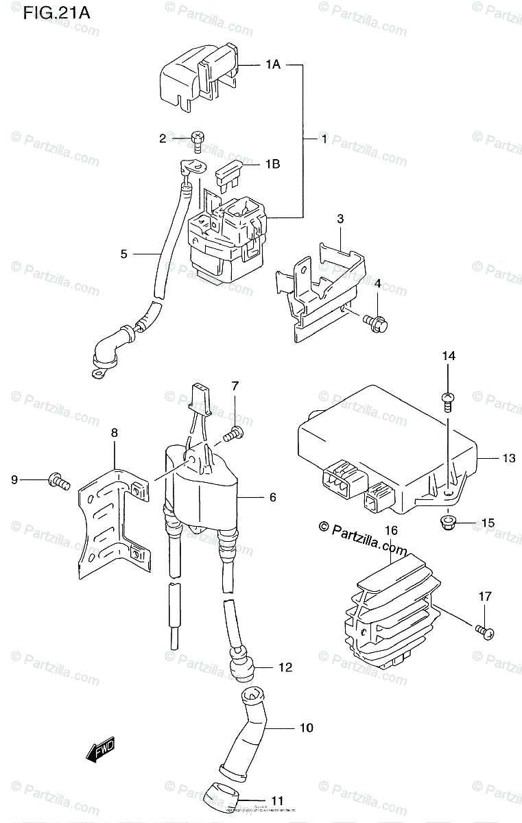 Suzuki Motorcycle 2000 OEM Parts Diagram for Electrical