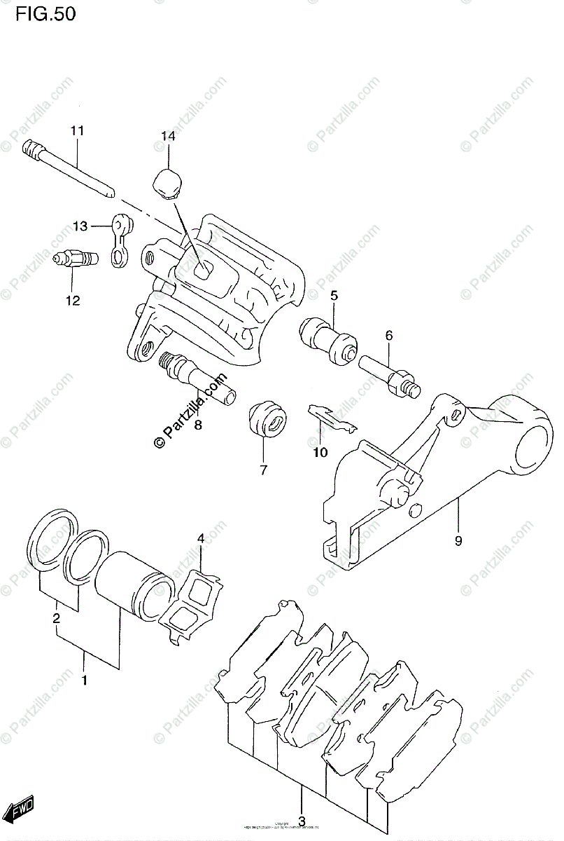 Suzuki Motorcycle 2000 OEM Parts Diagram for Rear Caliper