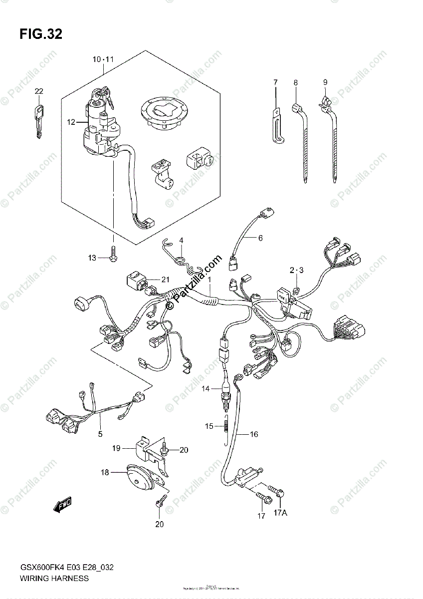 Suzuki Motorcycle 2006 OEM Parts Diagram for Wiring
