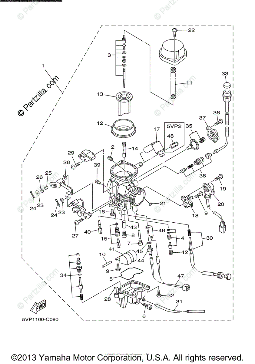 Yamaha Motorcycle 2004 OEM Parts Diagram for Carburetor