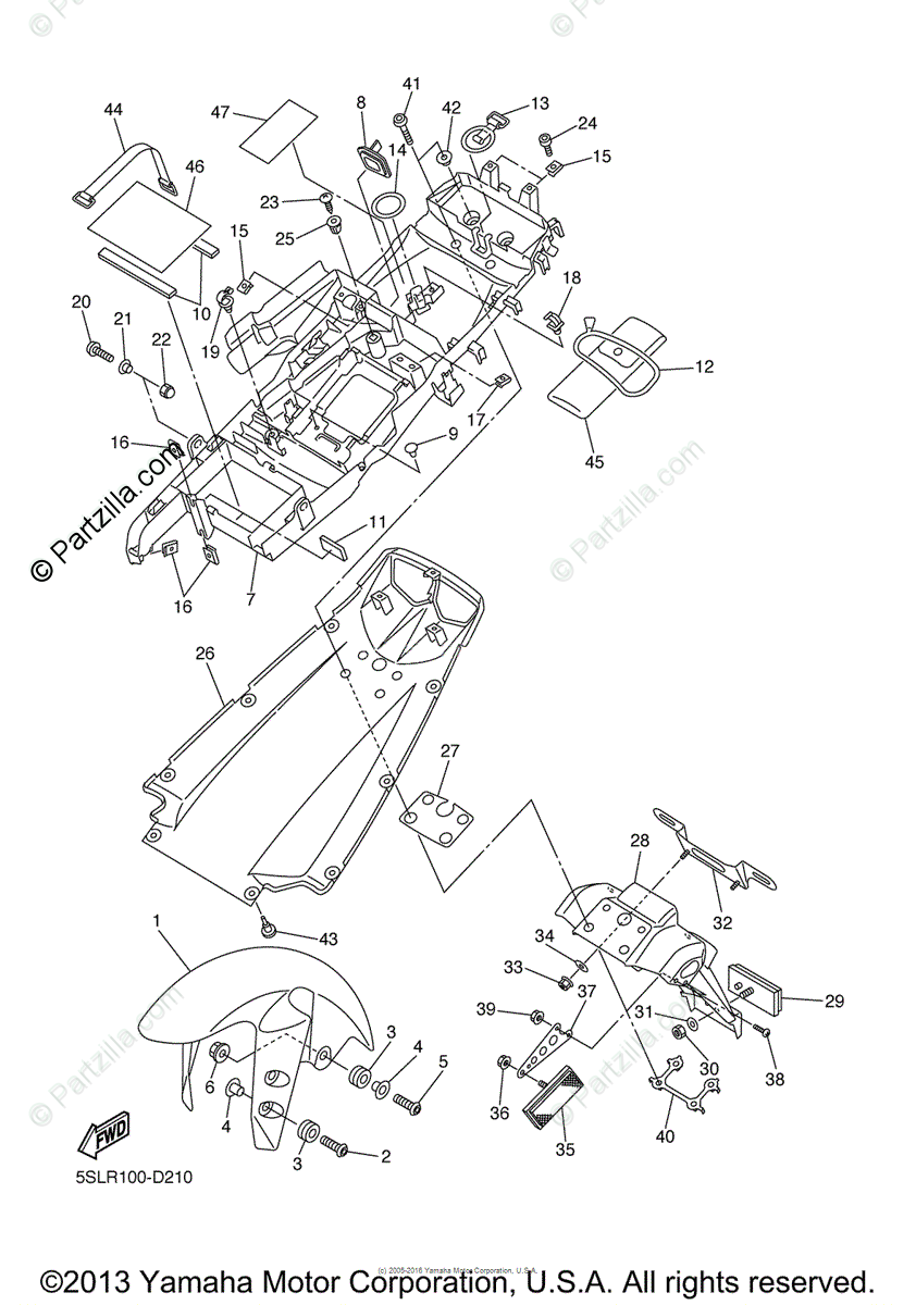 Yamaha Motorcycle 2005 OEM Parts Diagram for Fender