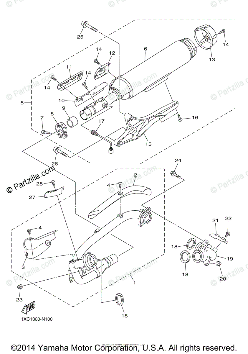 Yamaha Motorcycle 2015 OEM Parts Diagram for Exhaust