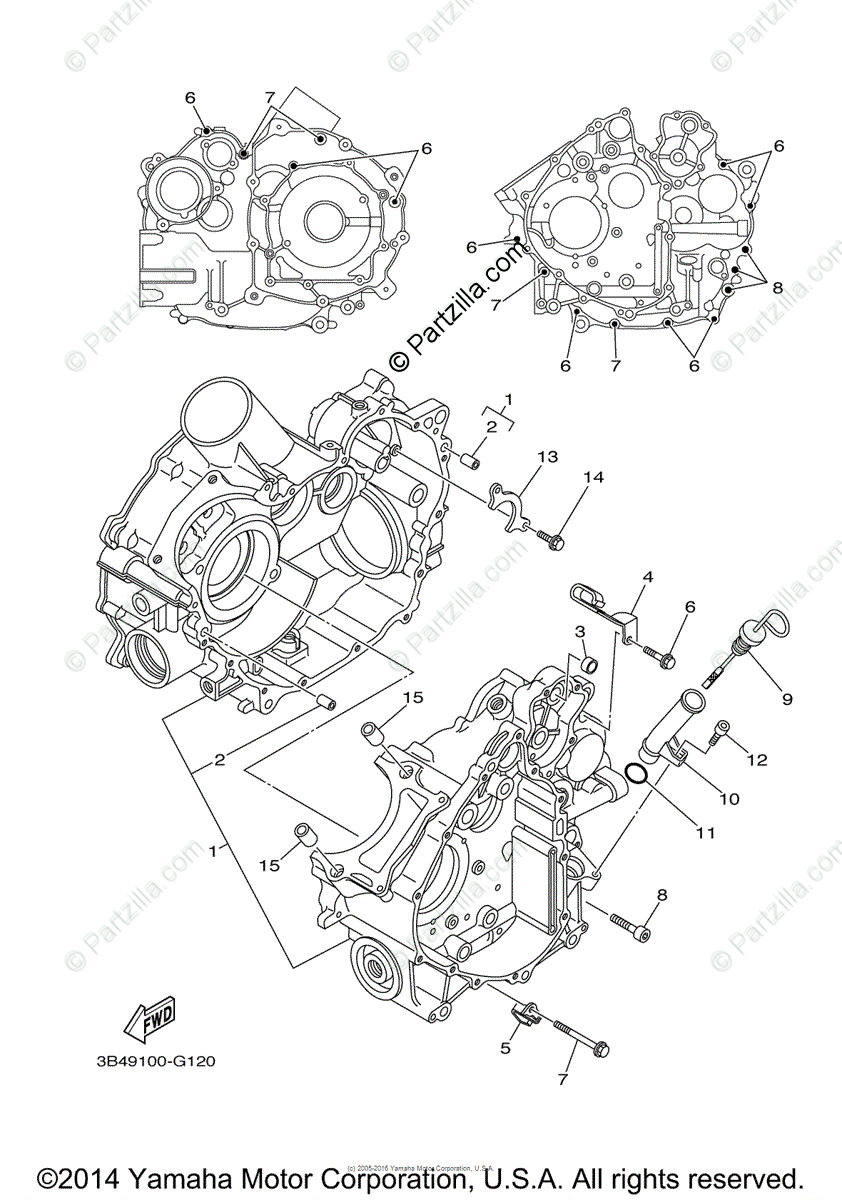 Yamaha ATV 2009 OEM Parts Diagram for Crankcase