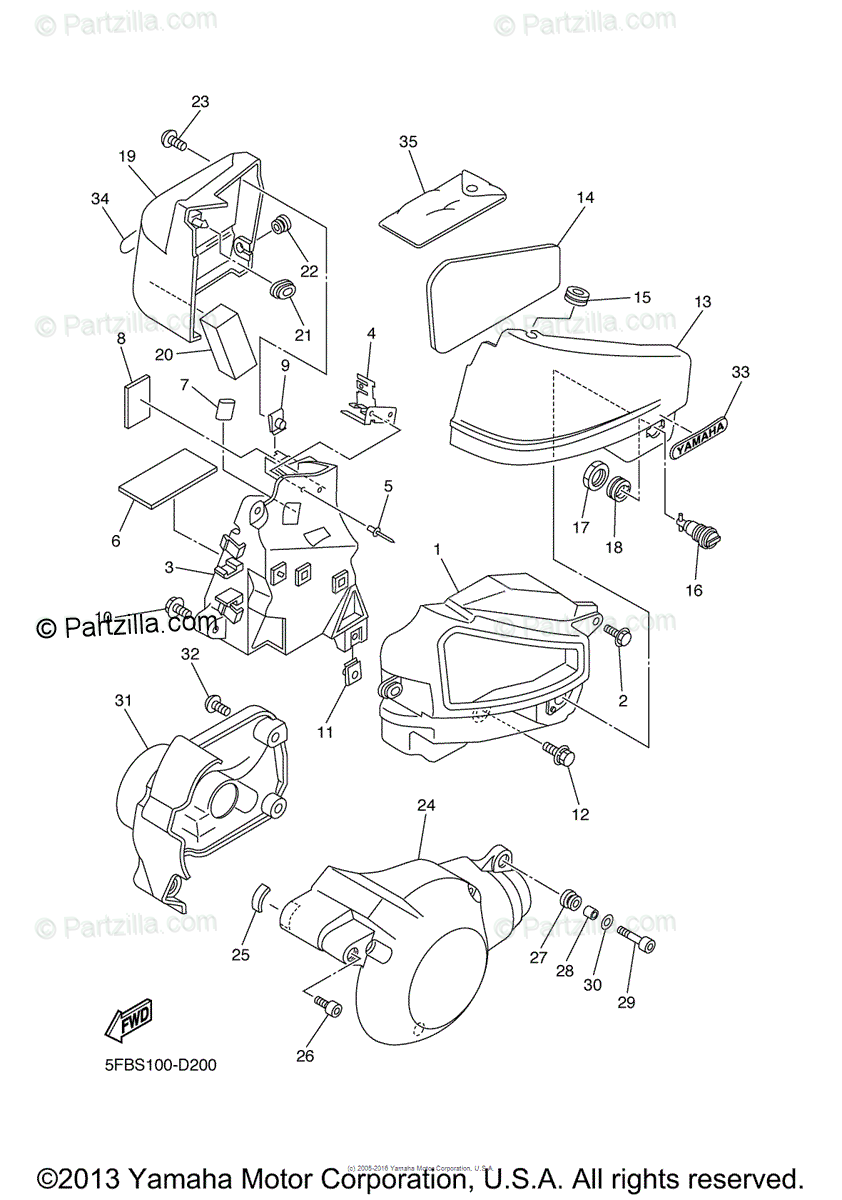 Yamaha Motorcycle 2005 OEM Parts Diagram for Side Cover