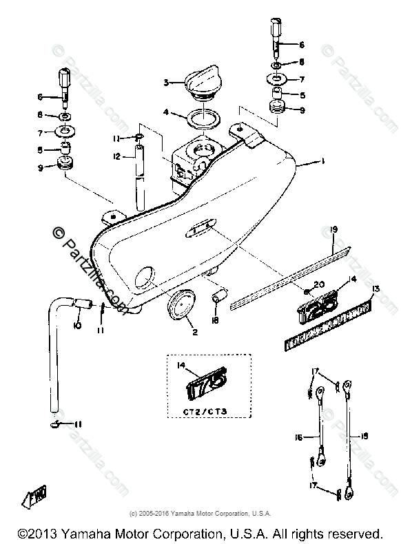 Yamaha Motorcycle 1972 OEM Parts Diagram for Oil Tank