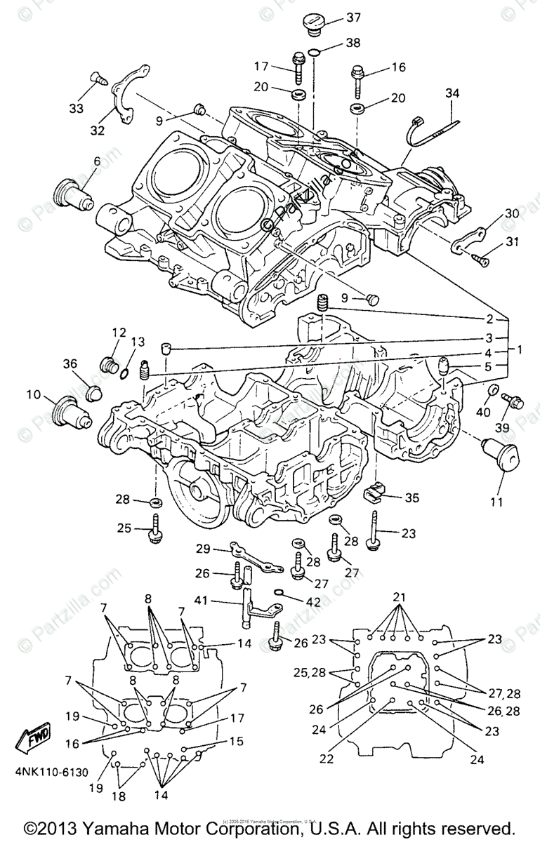 Yamaha Motorcycle 1996 OEM Parts Diagram for Crankcase