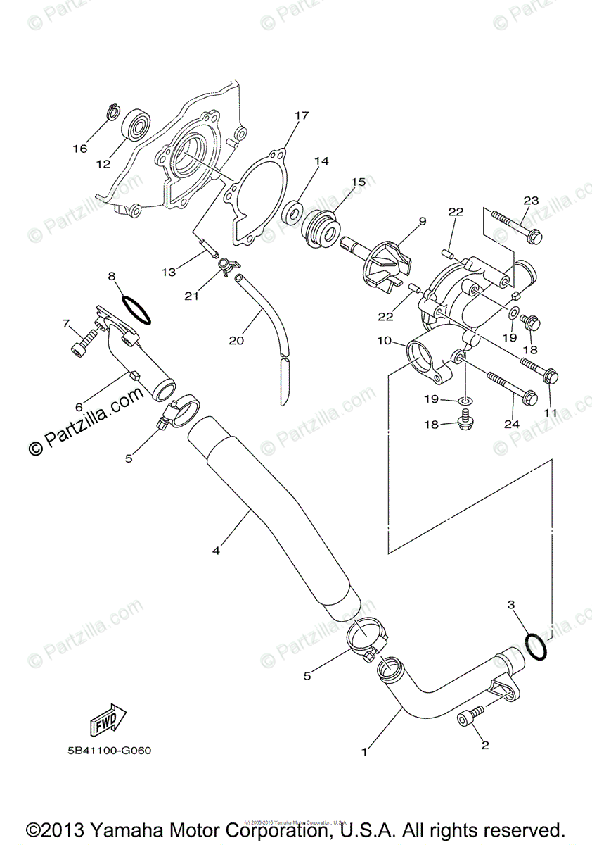 Yamaha Side by Side 2008 OEM Parts Diagram for WATER PUMP