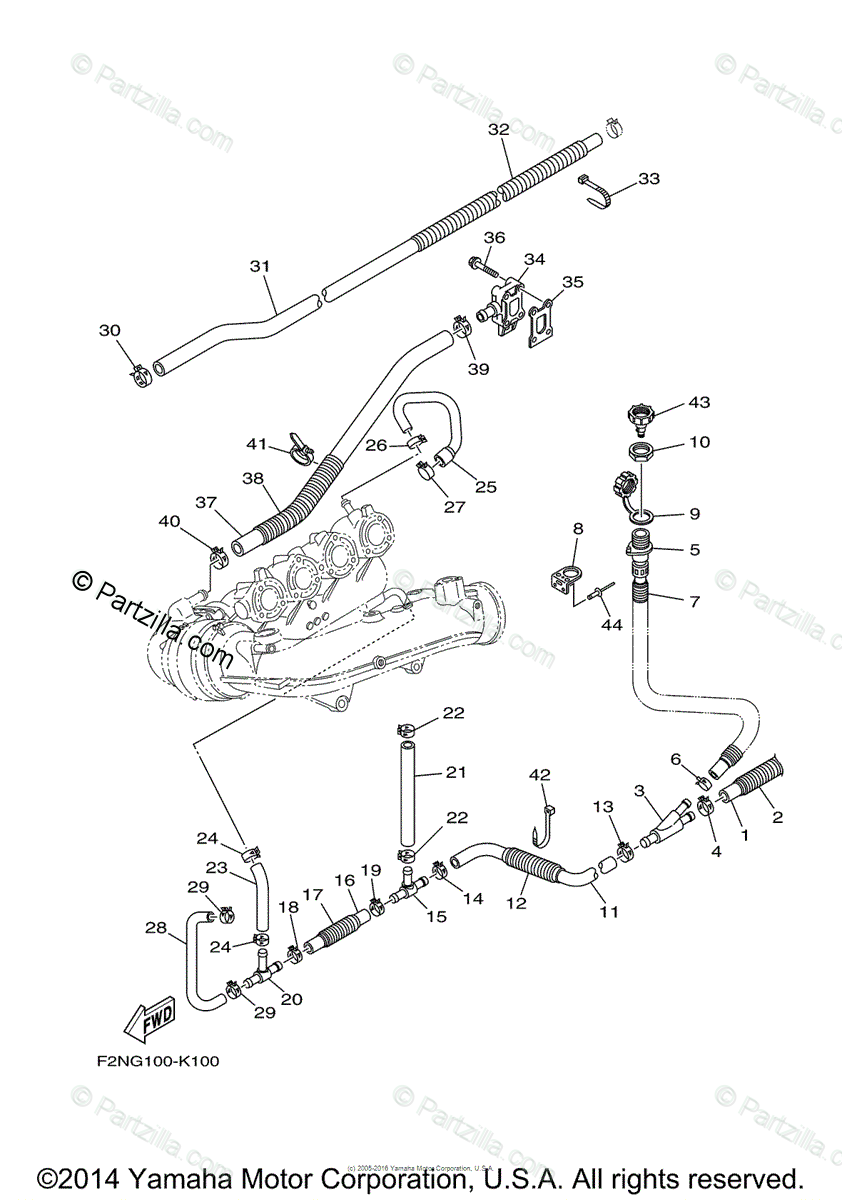Yamaha Waverunner 2015 OEM Parts Diagram for Exhaust (2