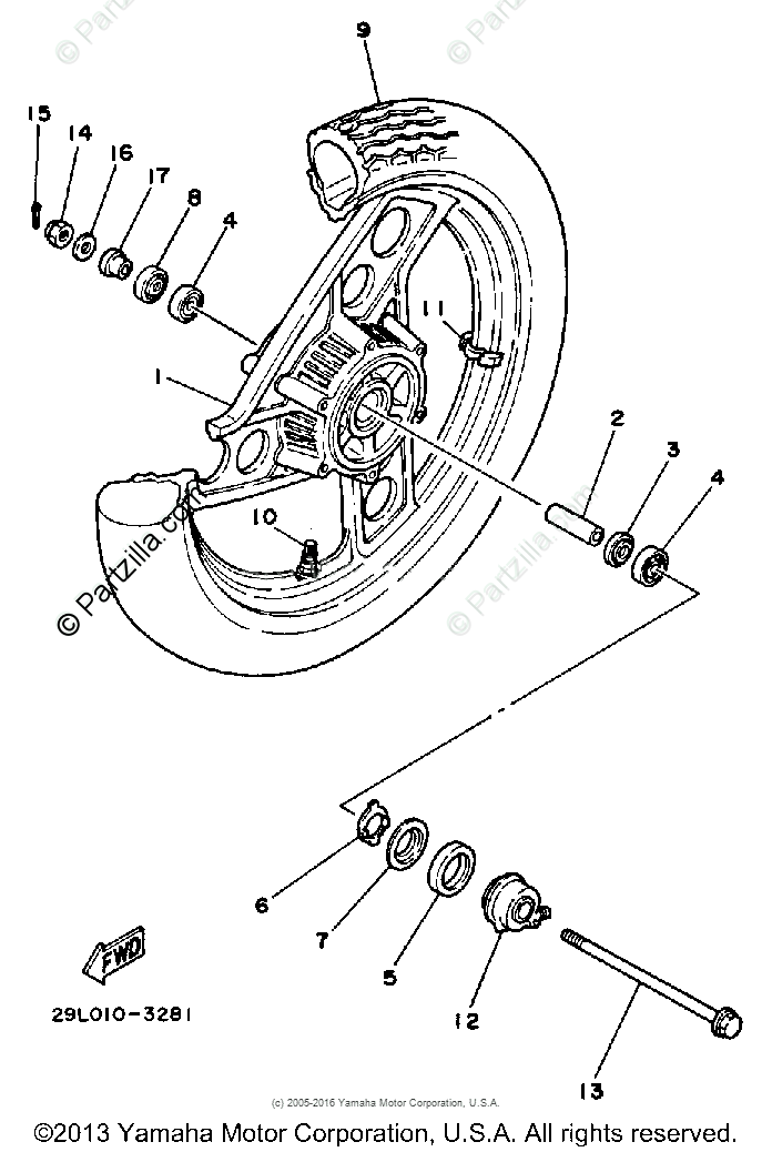 Yamaha Motorcycle 1985 OEM Parts Diagram for Front Wheel