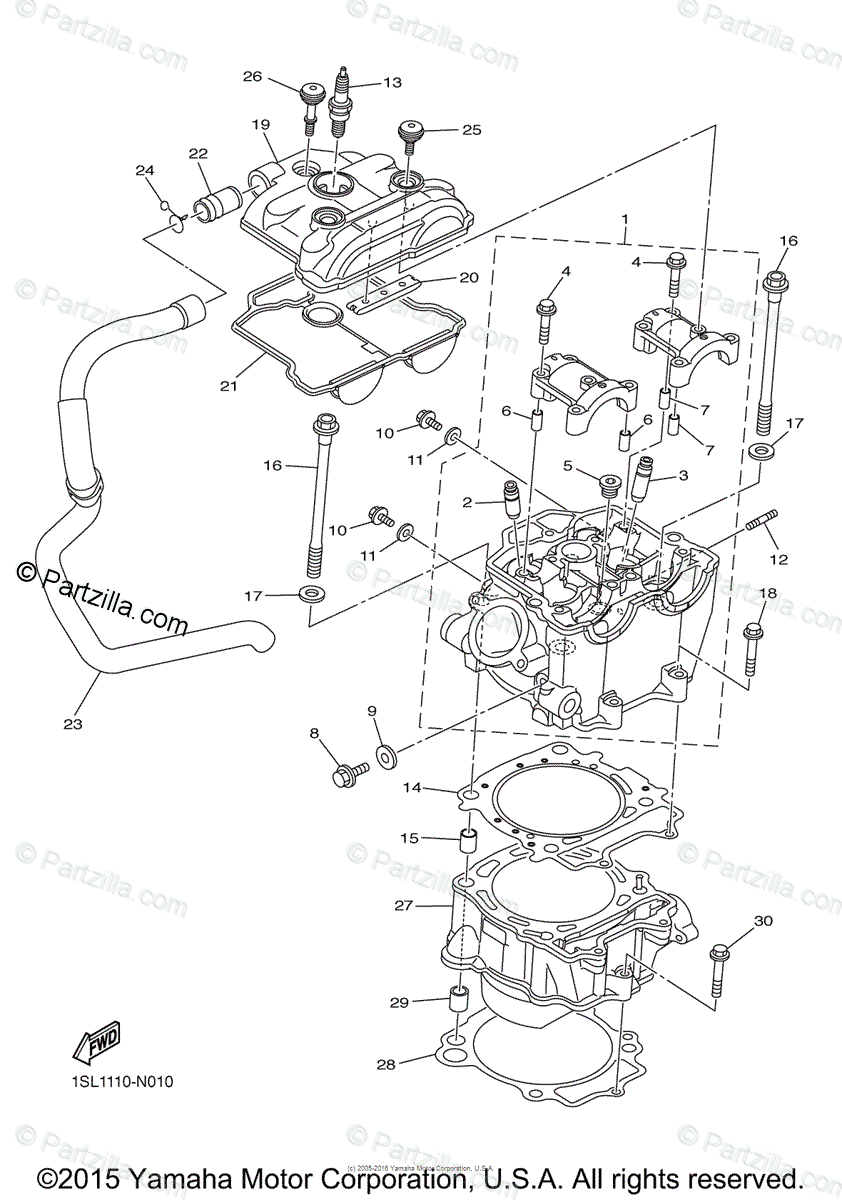 Yamaha Motorcycle 2015 OEM Parts Diagram for Cylinder