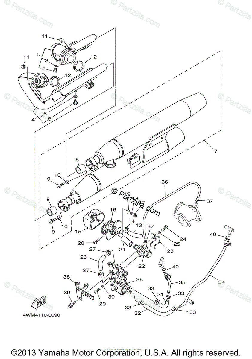 Yamaha Motorcycle 2003 OEM Parts Diagram for Exhaust