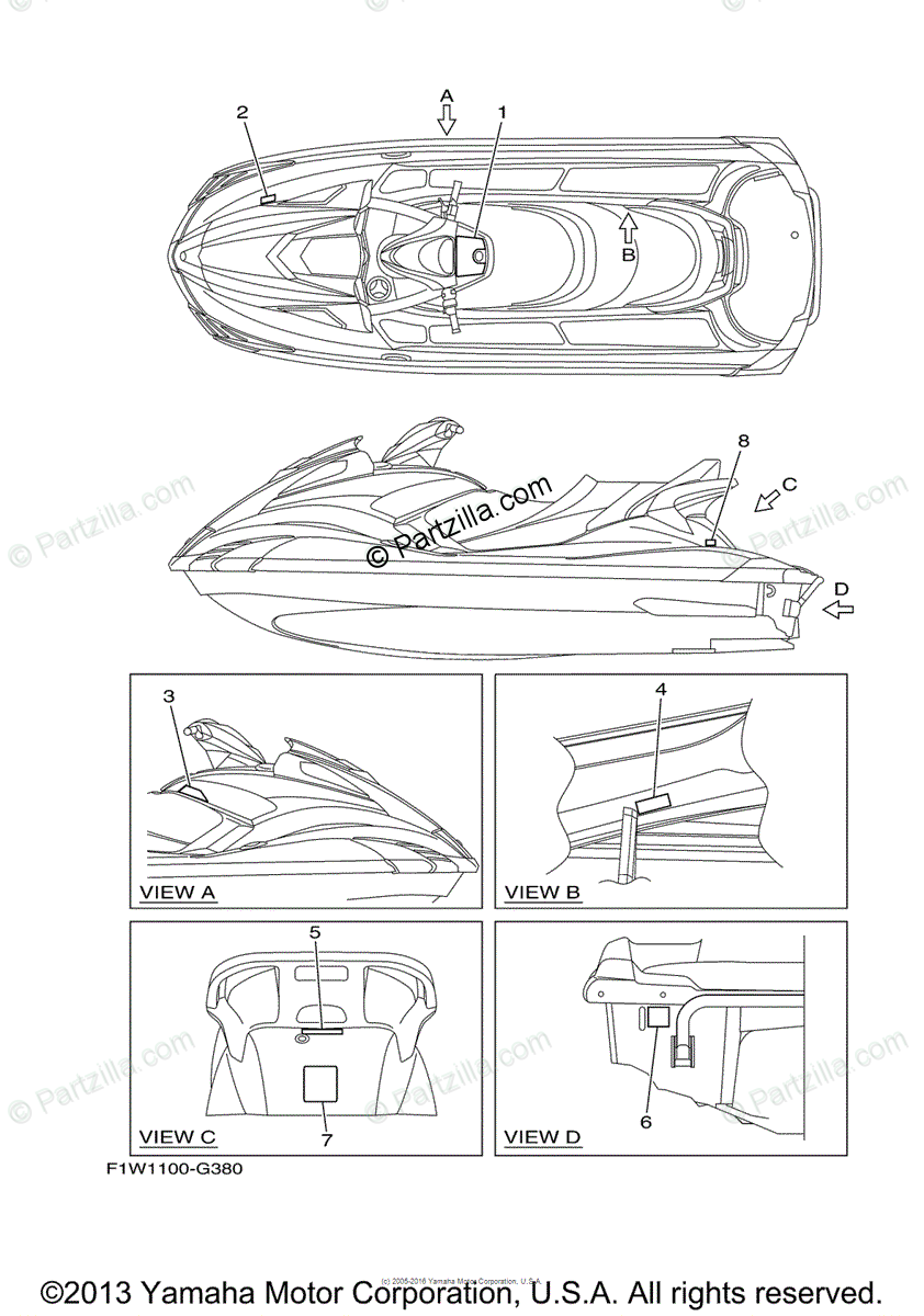 Yamaha Waverunner 2010 OEM Parts Diagram for Important