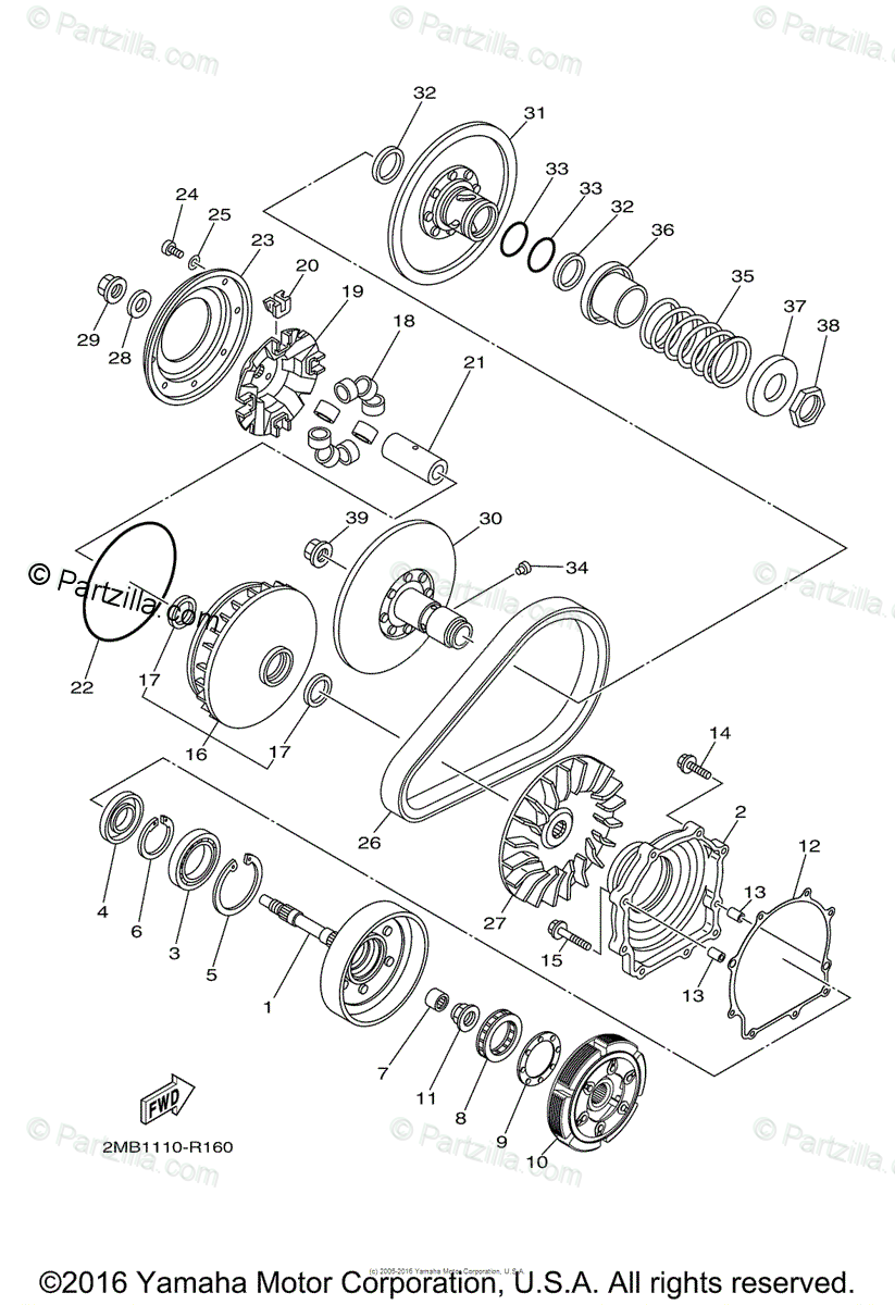 Yamaha Side by Side 2016 OEM Parts Diagram for Clutch