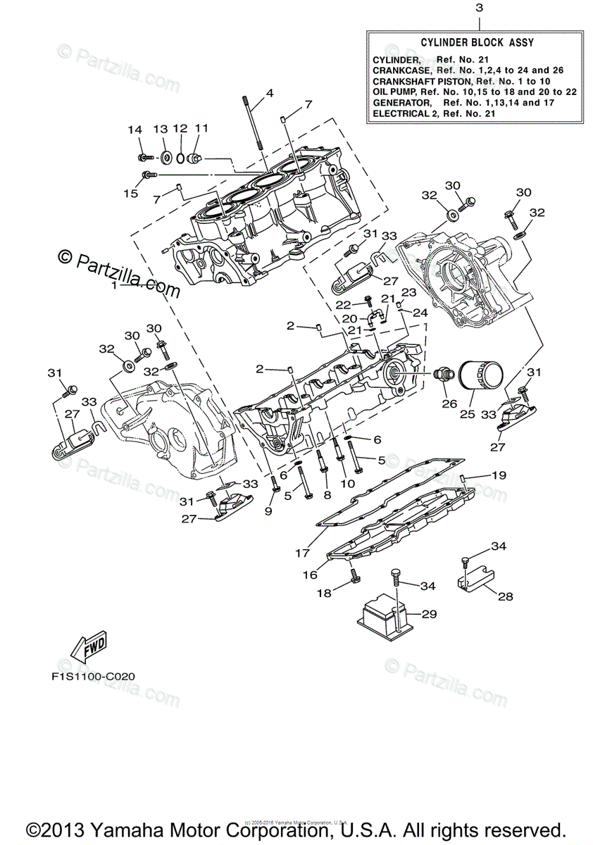 Yamaha Waverunner 2004 OEM Parts Diagram for Crankcase