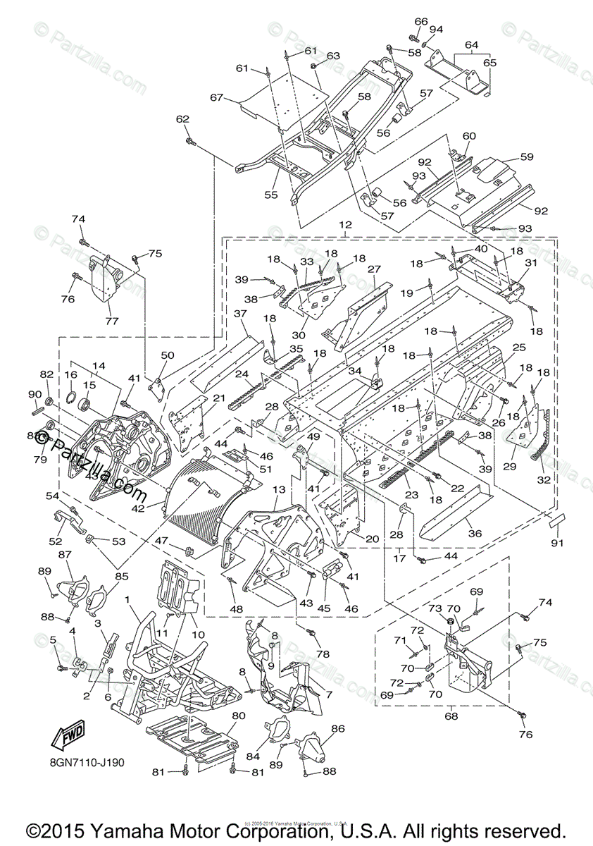 Yamaha Snowmobile 2011 OEM Parts Diagram for FRAME