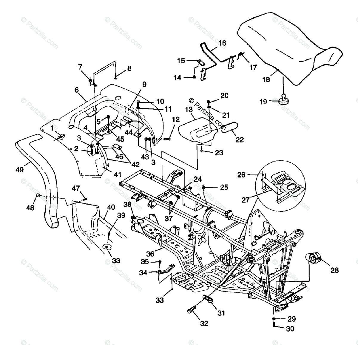 Polaris ATV 1998 OEM Parts Diagram for Rear Ca & Seat