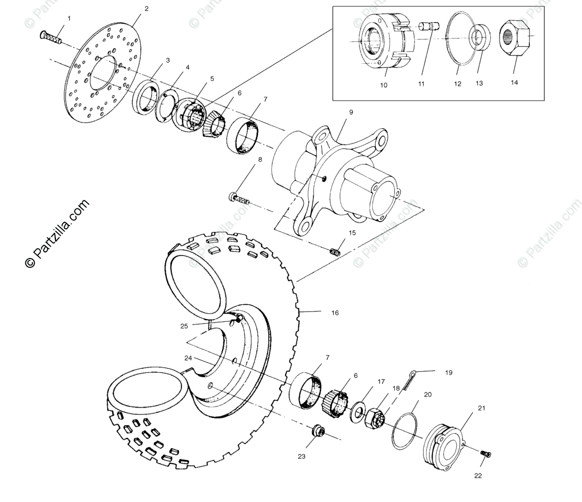 Polaris ATV 2003 OEM Parts Diagram for Front Wheel