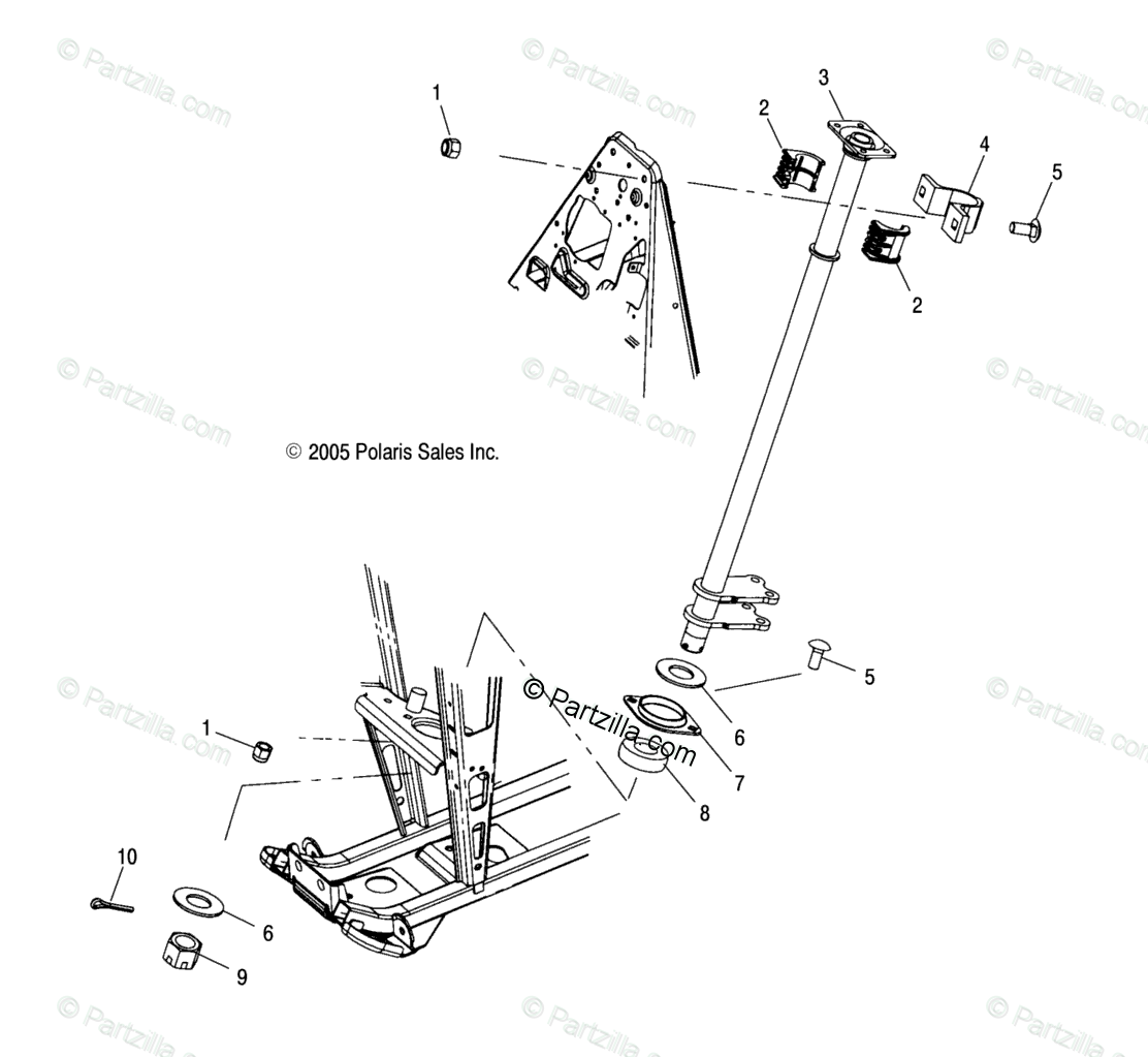 Polaris Atv Oem Parts Diagram For Steering Post Fa