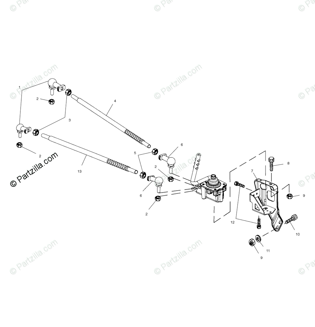 Polaris ATV 2001 OEM Parts Diagram for Gearcase Selector