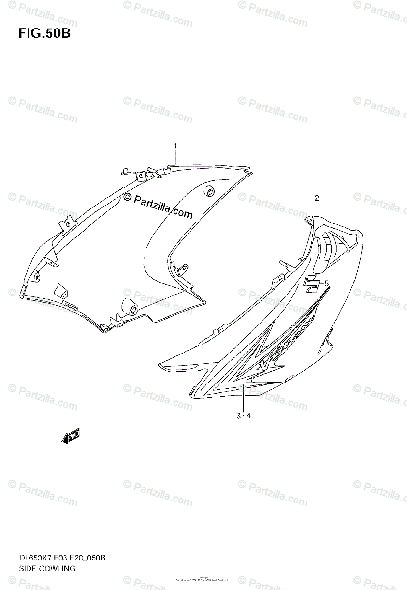 Suzuki Motorcycle 2008 OEM Parts Diagram for SIDE COWLING