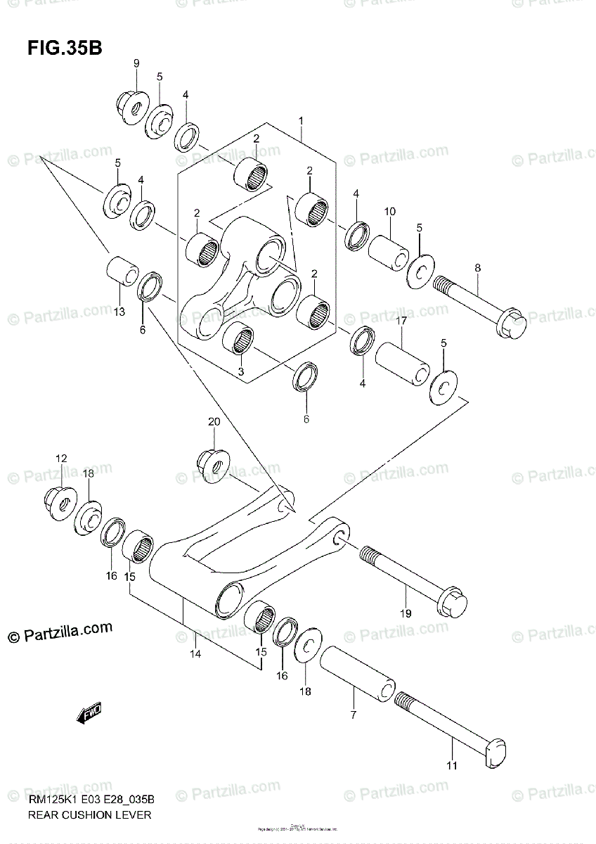 Suzuki Motorcycle 2004 OEM Parts Diagram for REAR CUSHION