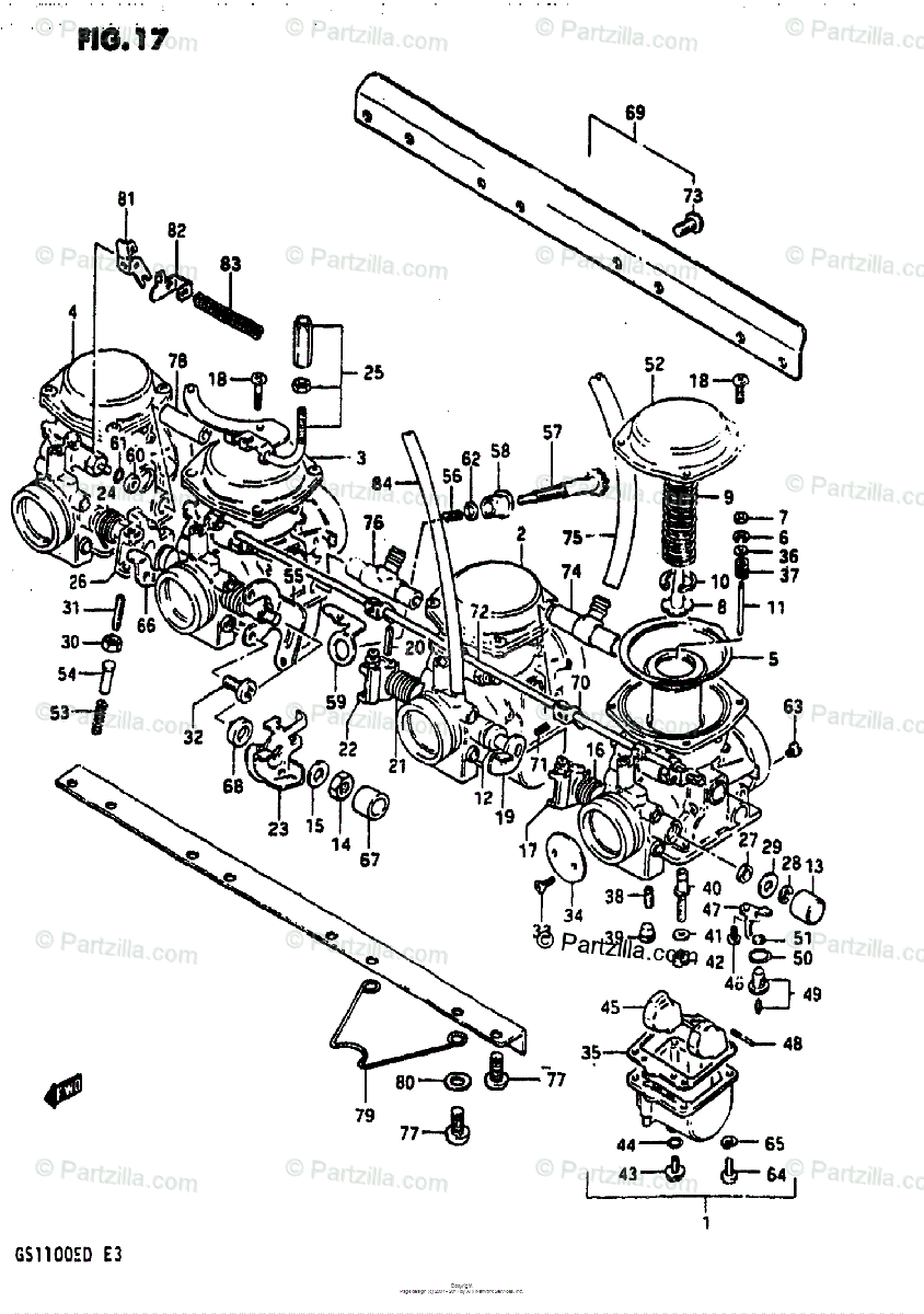 Suzuki Motorcycle 1982 OEM Parts Diagram for Carburetor