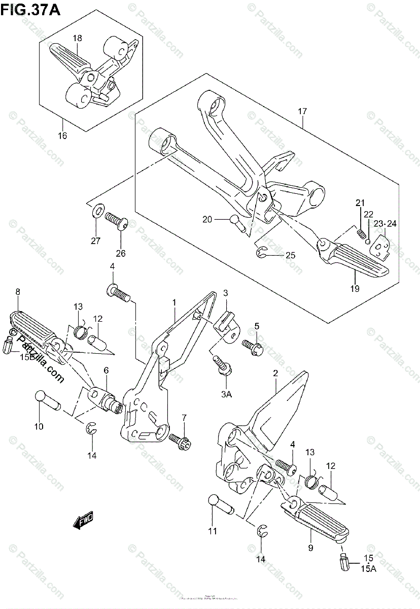 Suzuki Motorcycle 2004 OEM Parts Diagram for FOOTREST