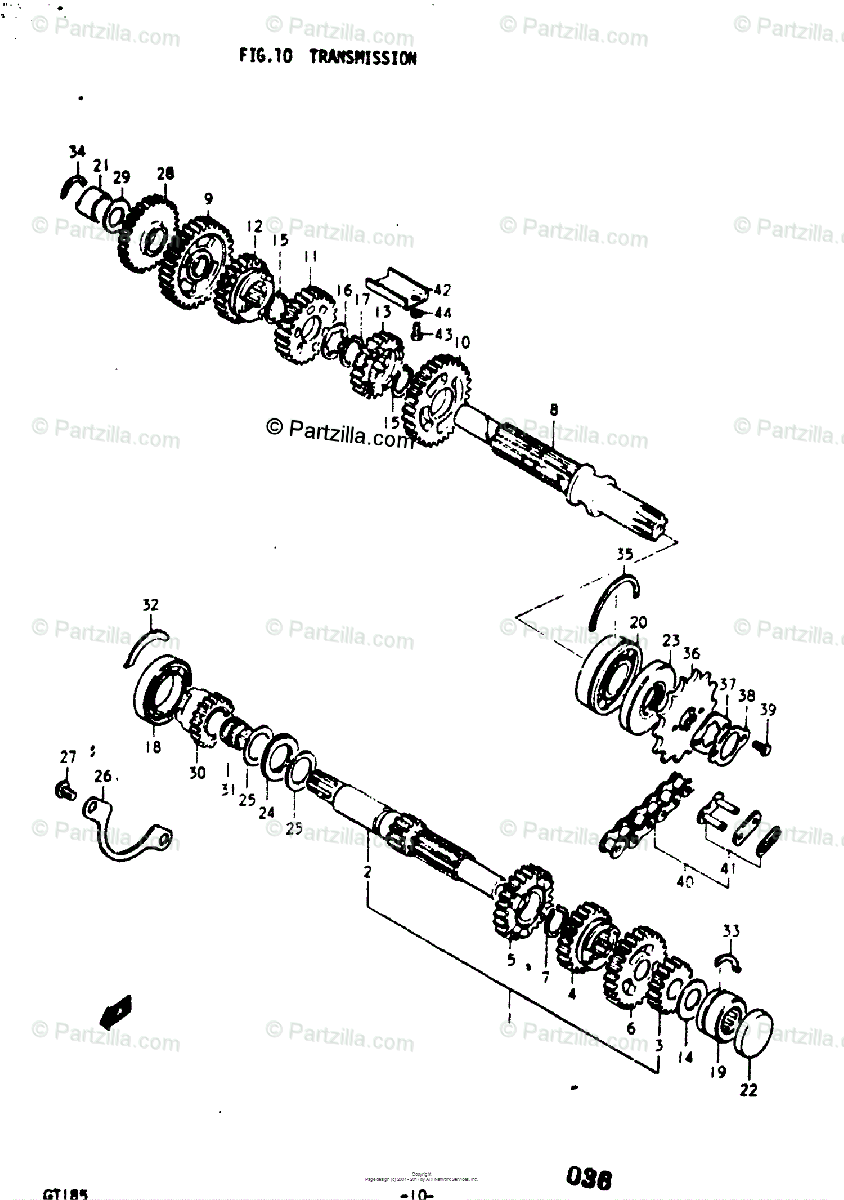 Suzuki Motorcycle 1975 OEM Parts Diagram for Transmission