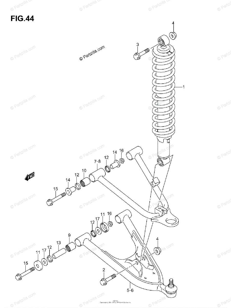 Suzuki ATV 2006 OEM Parts Diagram for SUSPENSION ARM