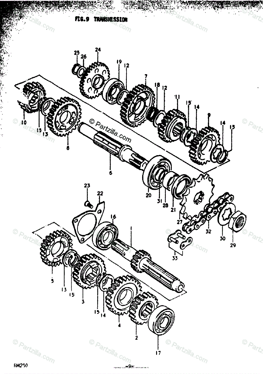 Suzuki Motorcycle 1977 OEM Parts Diagram for Transmission