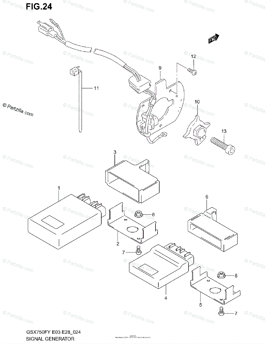 Suzuki Motorcycle 1998 OEM Parts Diagram for Signal