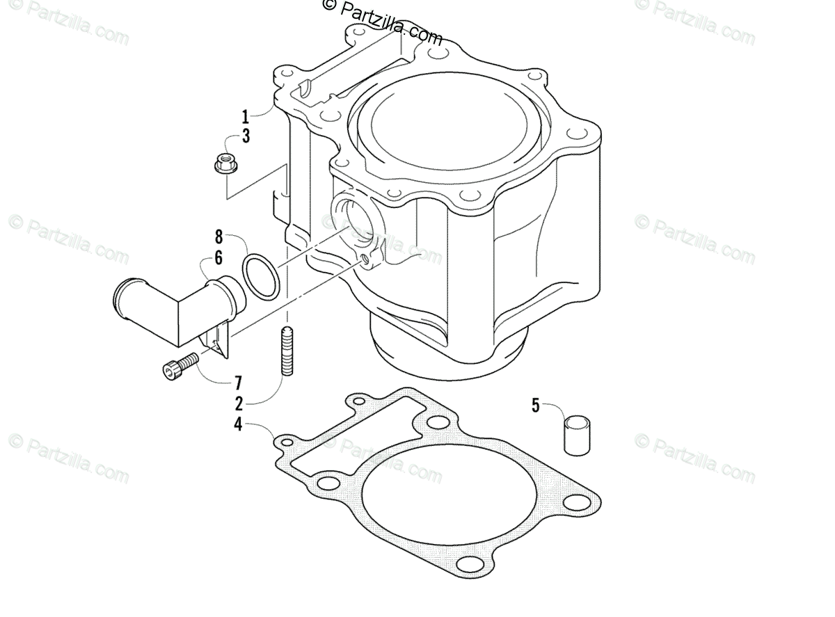 Arctic Cat ATV 2003 OEM Parts Diagram for Cylinder