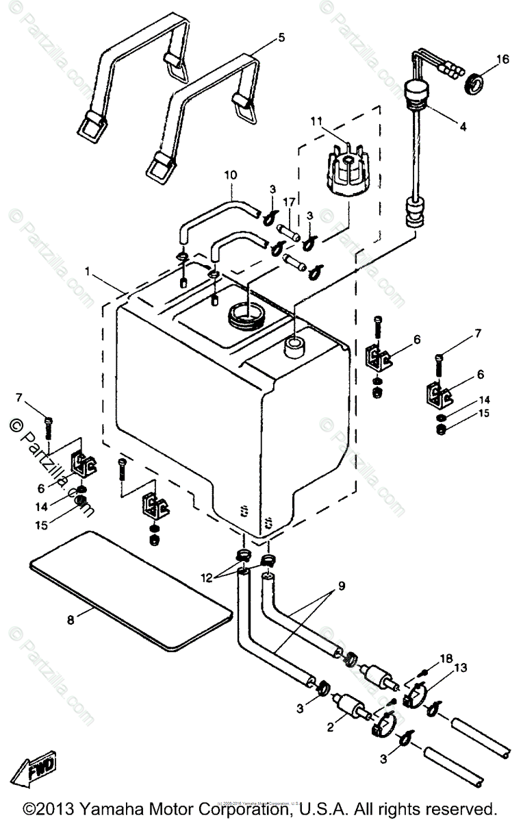 Yamaha Boat 1996 OEM Parts Diagram for Oil Tank