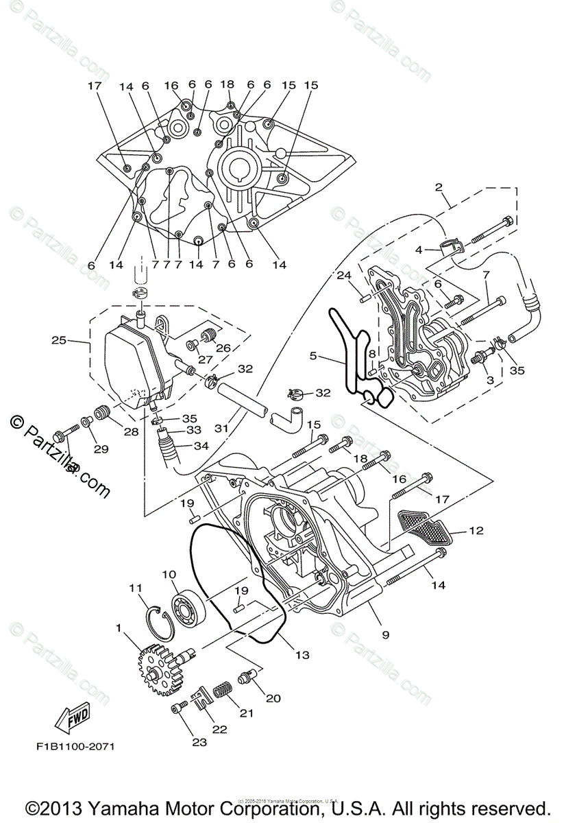 Yamaha Waverunner 2007 OEM Parts Diagram for Oil Pump