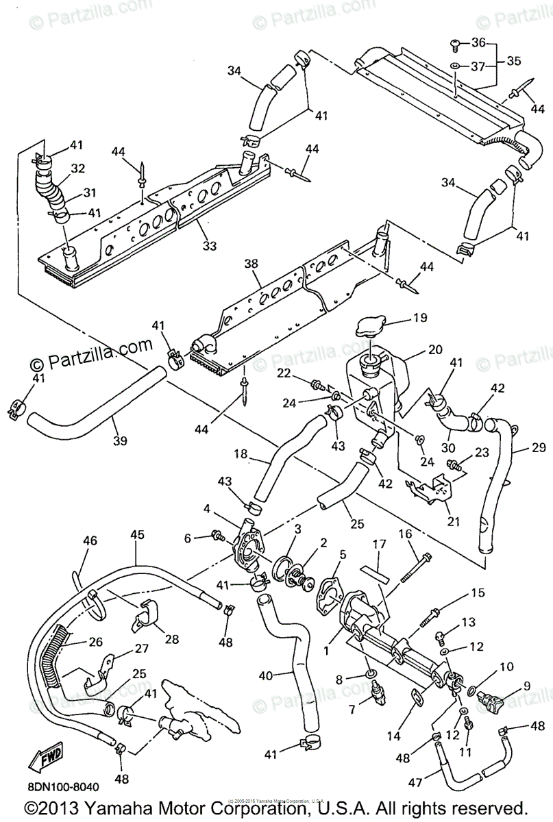 Yamaha Snowmobile 1998 OEM Parts Diagram for Radiator Hose