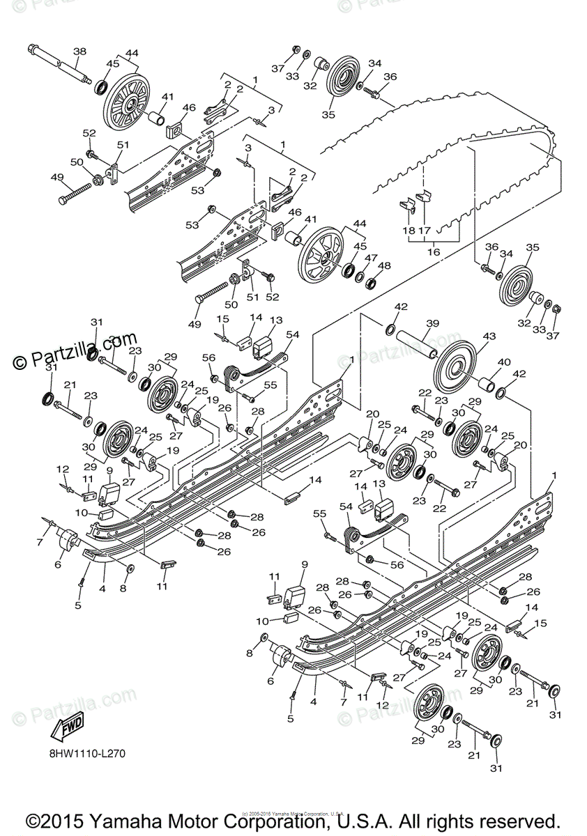 Yamaha Snowmobile 2012 OEM Parts Diagram for Track