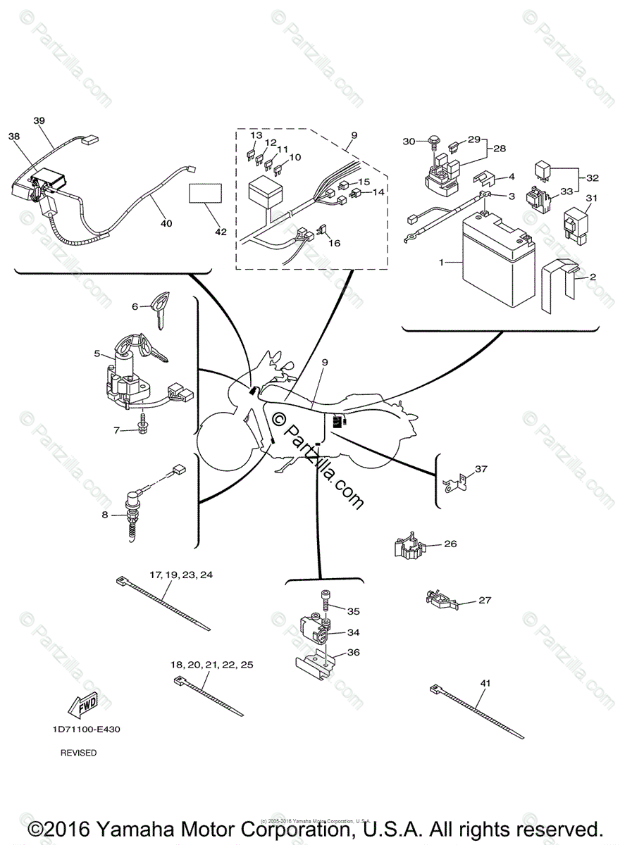 Yamaha Motorcycle 2010 OEM Parts Diagram for Electrical