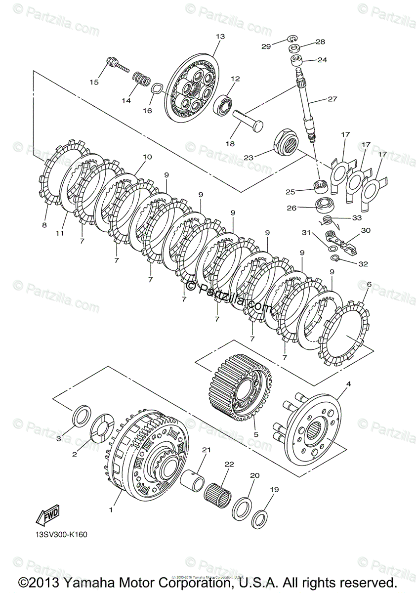 Yamaha Motorcycle 2012 OEM Parts Diagram for Clutch