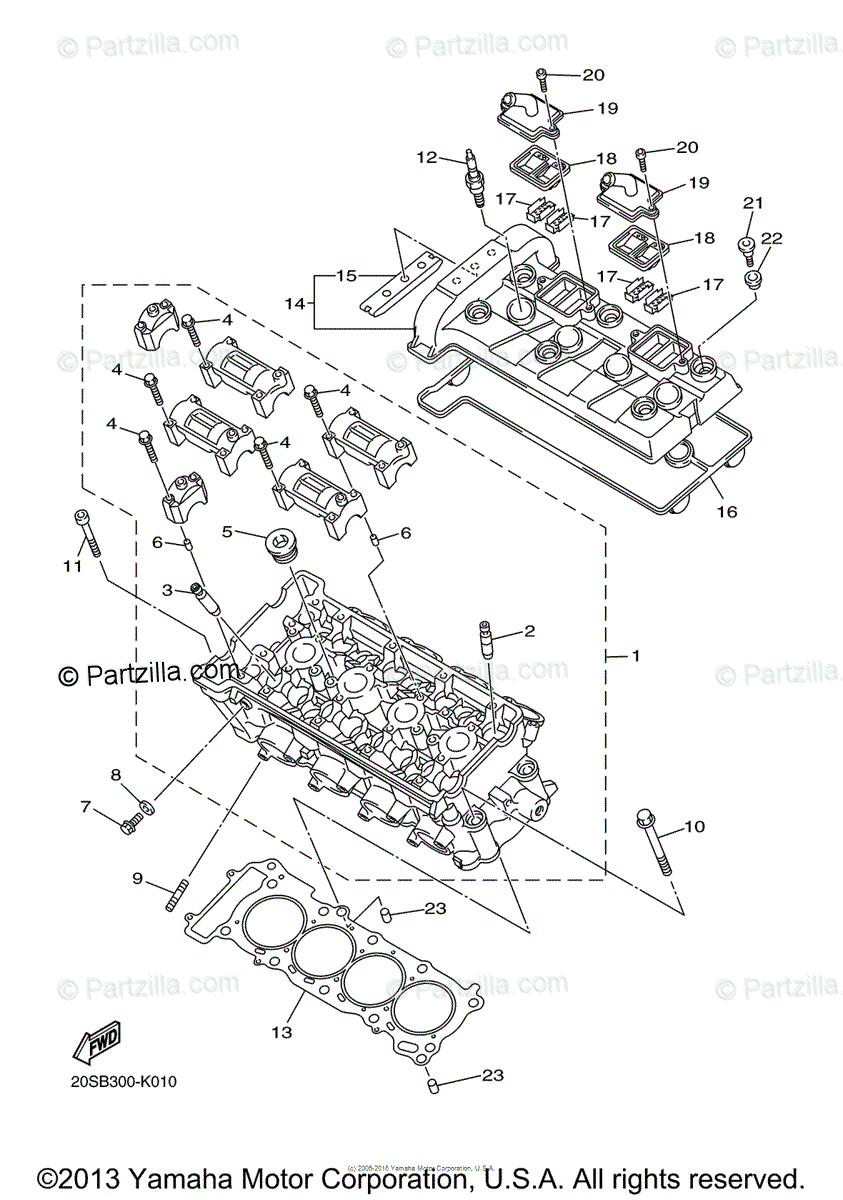 Yamaha Motorcycle 2013 OEM Parts Diagram for Cylinder Head