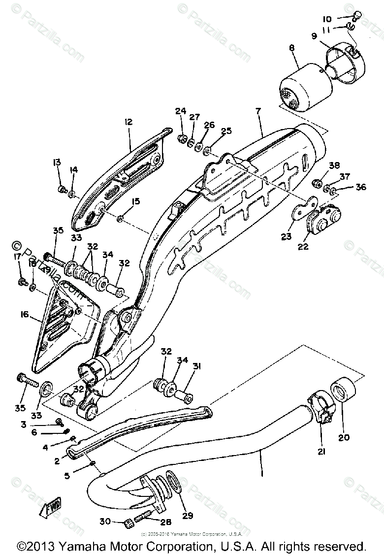 Yamaha Motorcycle 1980 OEM Parts Diagram for Exhaust