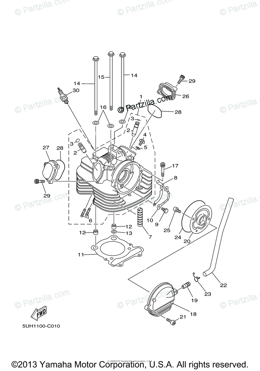 Yamaha ATV 2004 OEM Parts Diagram for Cylinder Head