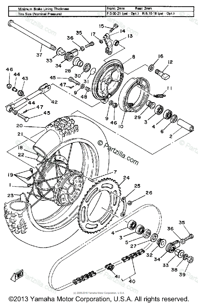 Yamaha Motorcycle 1980 OEM Parts Diagram for Rear Wheel