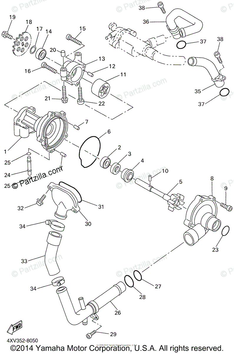 Yamaha Motorcycle 2001 OEM Parts Diagram for Water Pump
