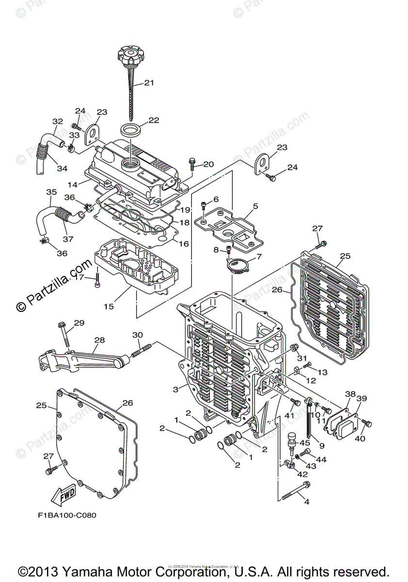 Yamaha Waverunner 2004 OEM Parts Diagram for Oil Cooler