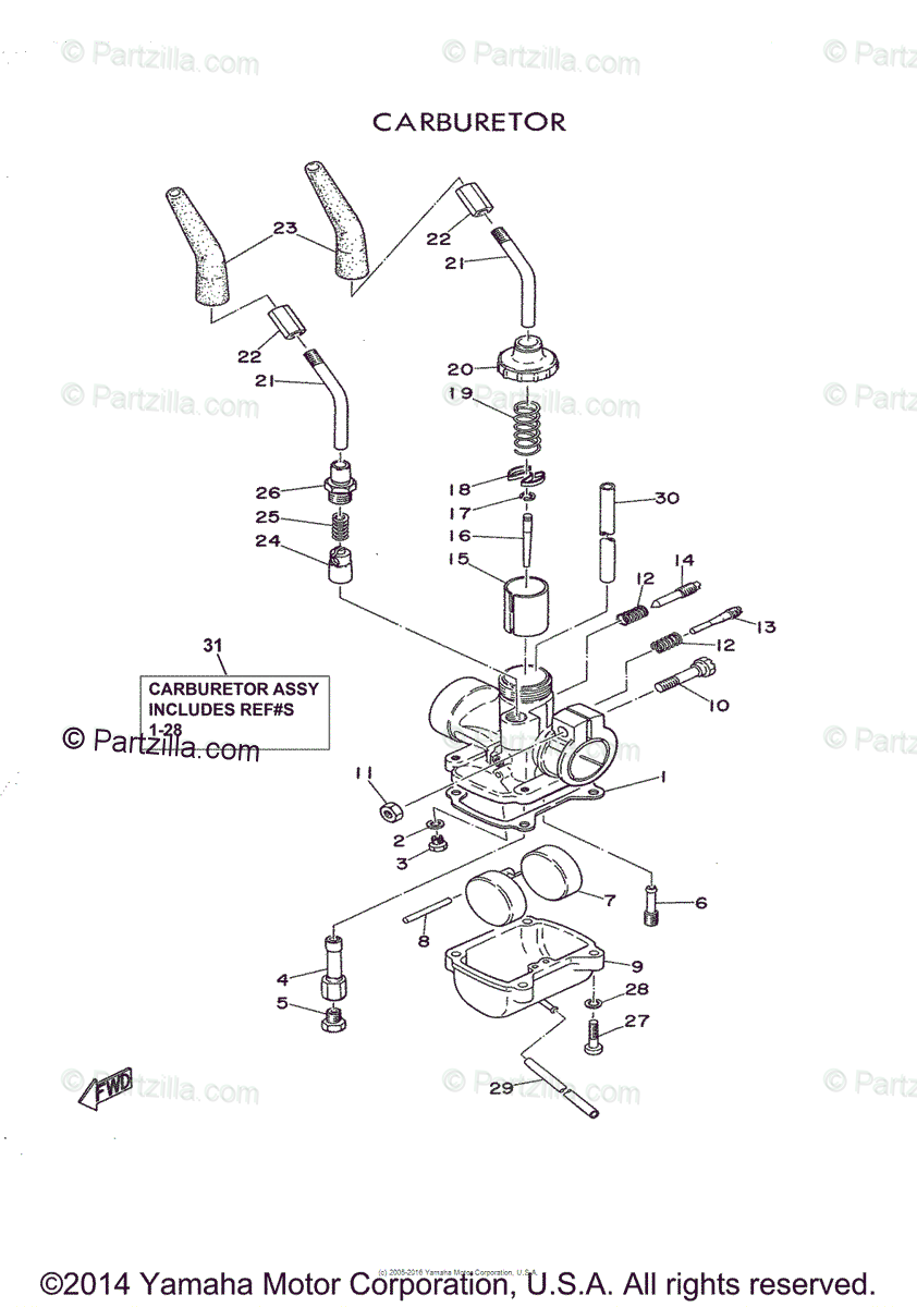 Yamaha Motorcycle 1964 OEM Parts Diagram for Carburetor