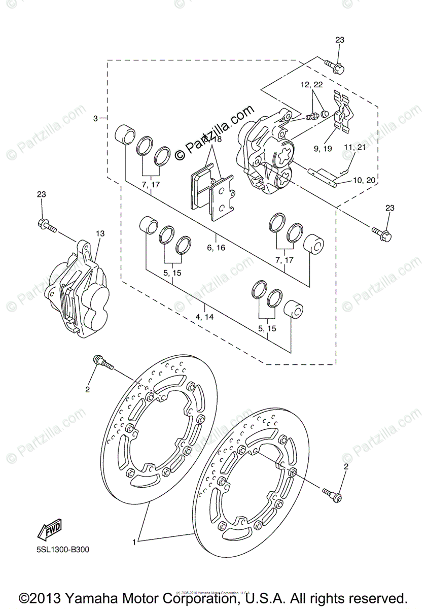 Yamaha Motorcycle 2003 OEM Parts Diagram for Front Brake