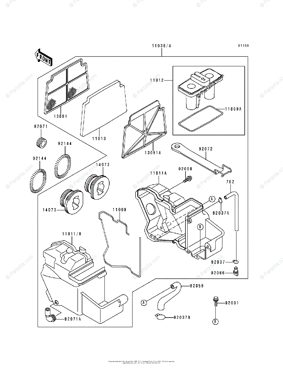 Kawasaki Motorcycle 1995 OEM Parts Diagram for Air Cleaner