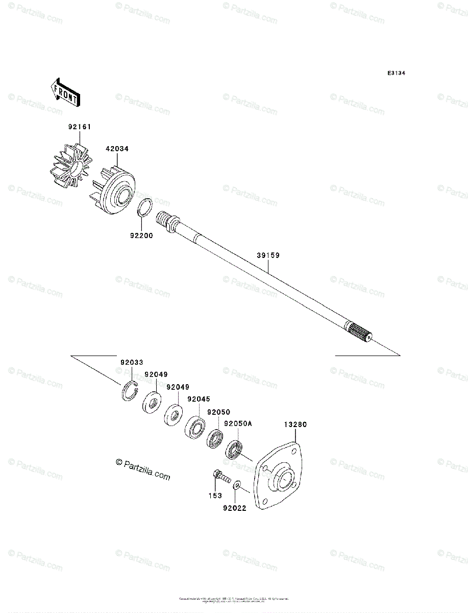 Kawasaki Jet Ski 2011 OEM Parts Diagram for Drive Shaft