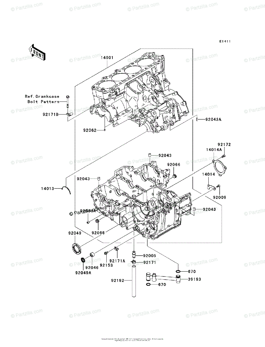 Kawasaki Motorcycle 2008 OEM Parts Diagram for Crankcase